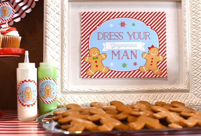 Gingerbread Man cookies from a Gingerbread Decorating Holiday Christmas Party on Kara's Party Ideas | KarasPartyIdeas.com (35)