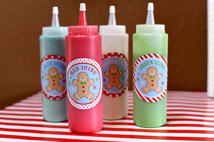 Icing bottles from a Gingerbread Decorating Holiday Christmas Party on Kara's Party Ideas | KarasPartyIdeas.com (32)