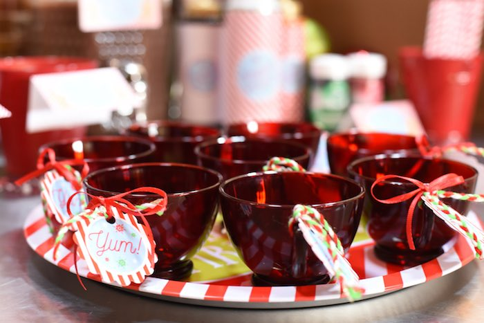 Red cups from a Gingerbread Decorating Holiday Christmas Party on Kara's Party Ideas | KarasPartyIdeas.com (27)