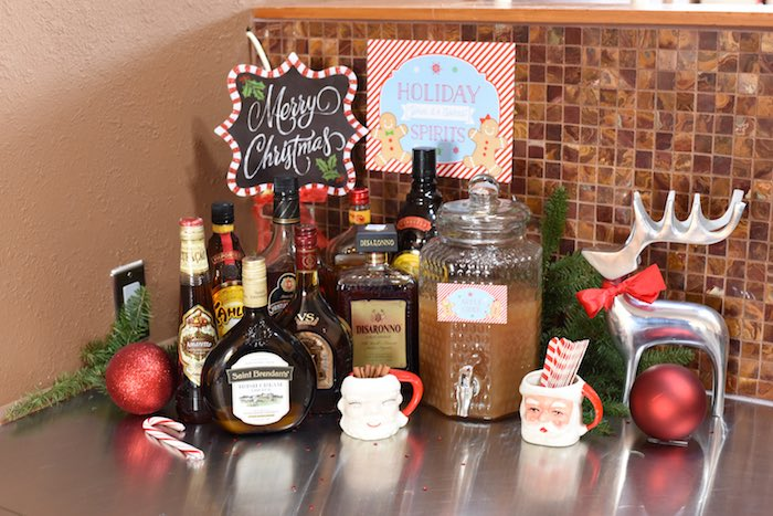 Beverage bar from a Gingerbread Decorating Holiday Christmas Party on Kara's Party Ideas | KarasPartyIdeas.com (23)