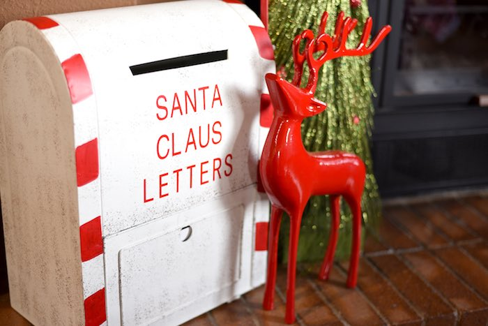 North Pole mailbox and red reindeer from a Gingerbread Decorating Holiday Christmas Party on Kara's Party Ideas | KarasPartyIdeas.com (21)