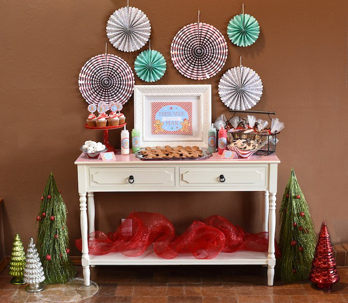 Dessert table from a Gingerbread Decorating Holiday Christmas Party on Kara's Party Ideas | KarasPartyIdeas.com (48)
