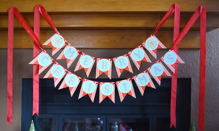 Gingerbread Man party banner from a Gingerbread Decorating Holiday Christmas Party on Kara's Party Ideas | KarasPartyIdeas.com (20)