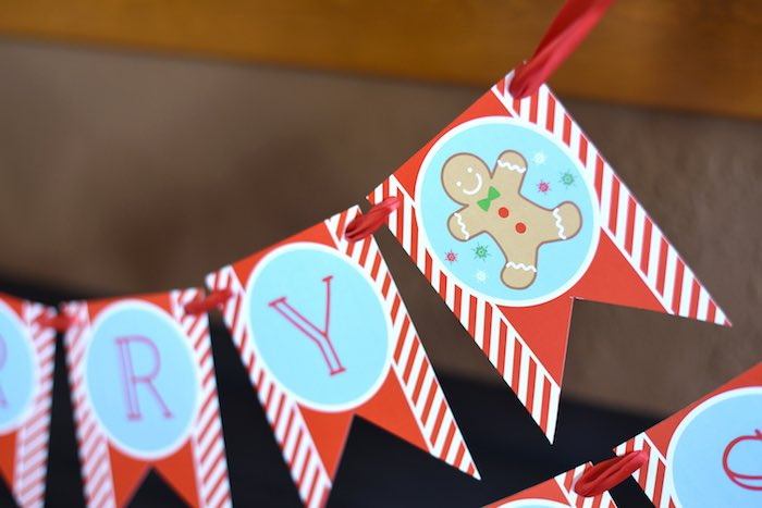 Gingerbread Man party banner from a Gingerbread Decorating Holiday Christmas Party on Kara's Party Ideas | KarasPartyIdeas.com (19)