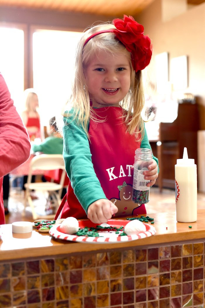 Cookie decorating from a Gingerbread Decorating Holiday Christmas Party on Kara's Party Ideas | KarasPartyIdeas.com (8)