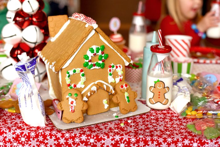 Decorated gingerbread house from a Gingerbread Decorating Holiday Christmas Party on Kara's Party Ideas | KarasPartyIdeas.com (6)