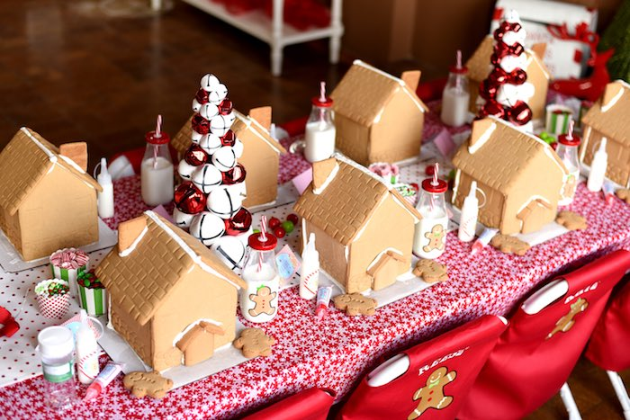 Gingerbread Houses From A Decorating Holiday Christmas Party On Kara S Ideas Karaspartyideas
