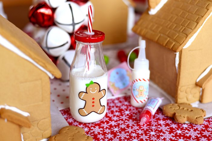 Gingerbread Man milk bottle from a Gingerbread Decorating Holiday Christmas Party on Kara's Party Ideas | KarasPartyIdeas.com (44)