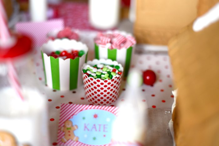 Candy cups from a Gingerbread Decorating Holiday Christmas Party on Kara's Party Ideas | KarasPartyIdeas.com (42)