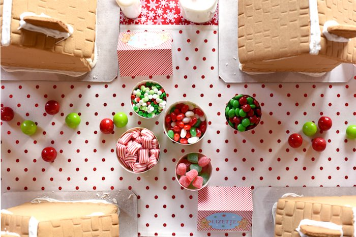 Jars of candy for decorating from a Gingerbread Decorating Holiday Christmas Party on Kara's Party Ideas | KarasPartyIdeas.com (41)