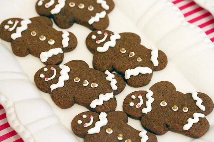 Gingerbread man cookies from a Gingerbread House Decorating Party on Kara's Party Ideas   KarasPartyIdeas.com (26)
