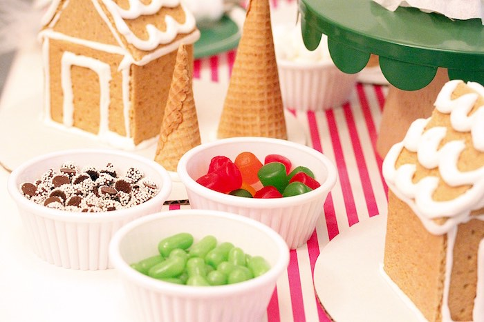 Candy dishes for decorating from a Gingerbread House Decorating Party on Kara's Party Ideas | KarasPartyIdeas.com (22)
