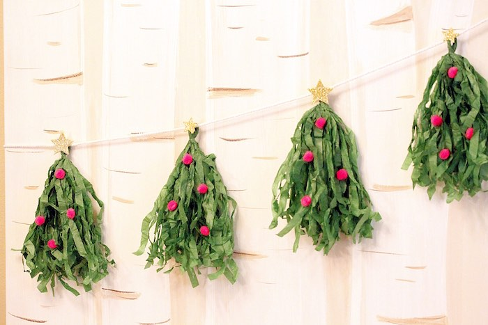 Christmas Tree tassel garland from a Gingerbread House Decorating Party on Kara's Party Ideas | KarasPartyIdeas.com (33)