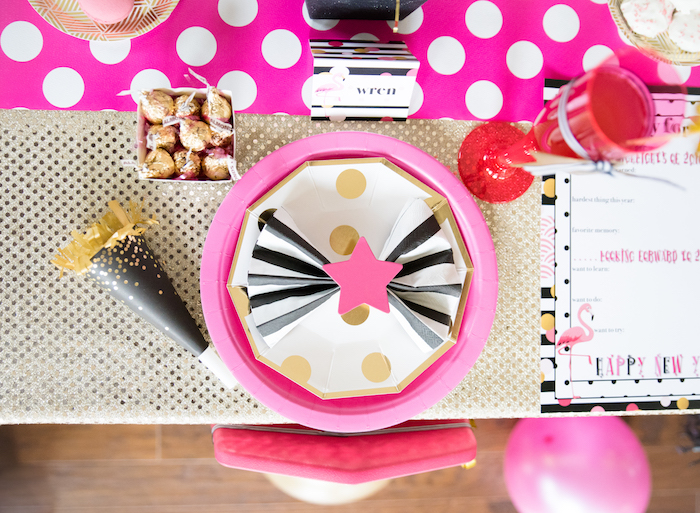 Pink, black, white and gold place setting from a Girly Glam New Year's Eve Flamingle on Kara's Party Ideas | KarasPartyIdeas.com (11)