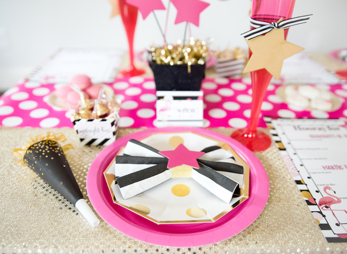 Star place setting from a Girly Glam New Year's Eve Flamingle on Kara's Party Ideas | KarasPartyIdeas.com (9)