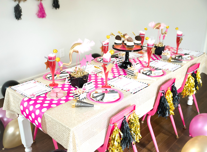 Flamingo party tablescape from a Girly Glam New Year's Eve Flamingle on Kara's Party Ideas | KarasPartyIdeas.com (7)