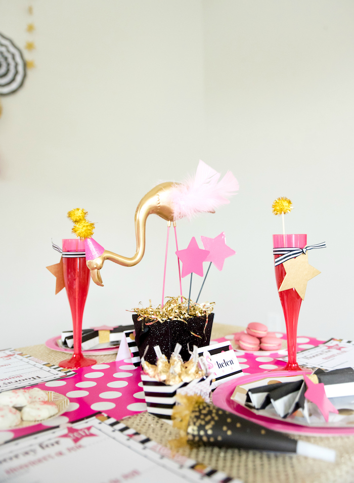 Flamingo centerpiece from a Girly Glam New Year's Eve Flamingle on Kara's Party Ideas | KarasPartyIdeas.com (6)