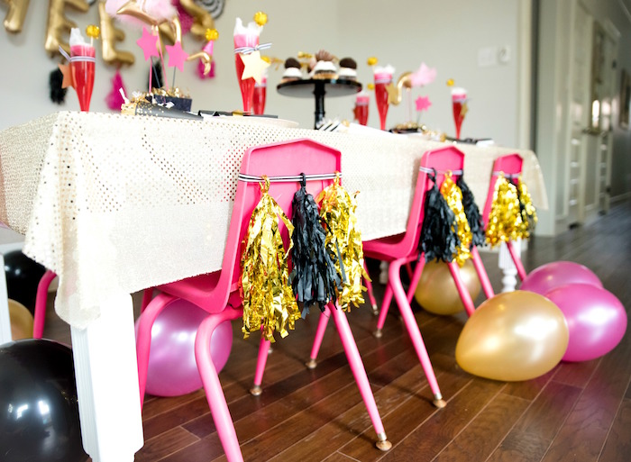 Pink tassel-adorned chairs from a Girly Glam New Year's Eve Flamingle on Kara's Party Ideas | KarasPartyIdeas.com (20)