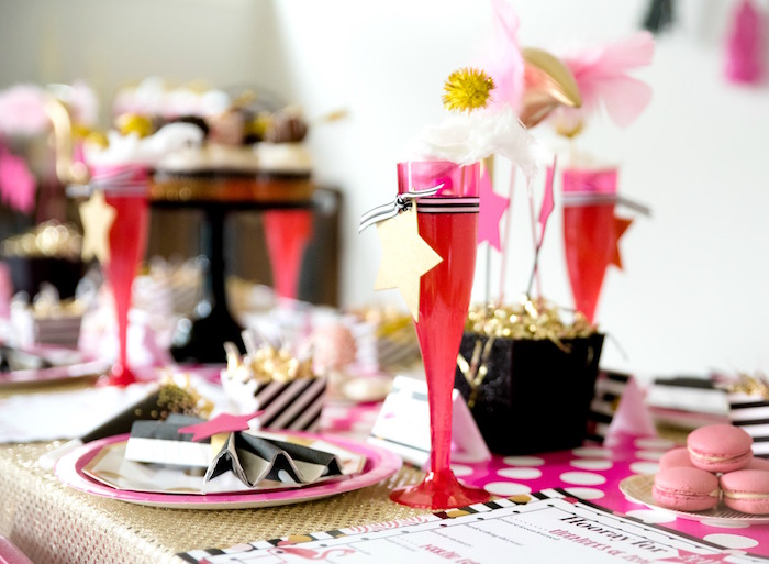 Pink champagne flute from a Girly Glam New Year's Eve Flamingle on Kara's Party Ideas | KarasPartyIdeas.com (19)