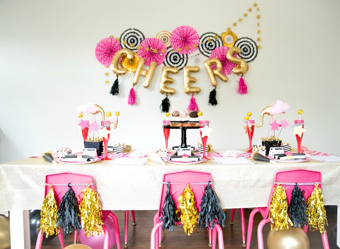 Girly glam guest table from a Girly Glam New Year's Eve Flamingle on Kara's Party Ideas | KarasPartyIdeas.com (18)