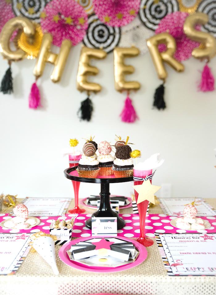 Kara's Party Ideas Girly Glam New Year's Eve Flamingle ...