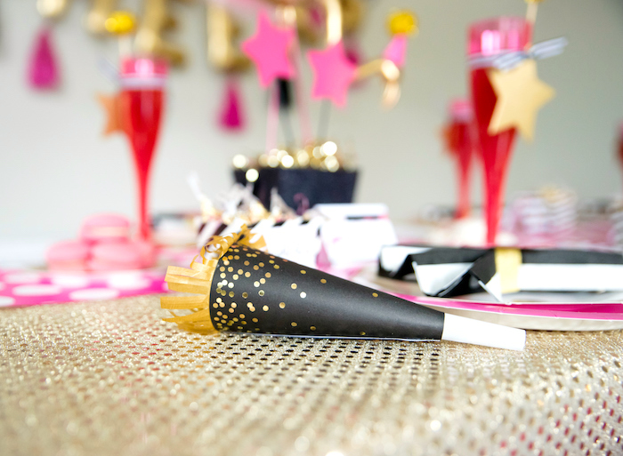 Black & gold party blower from a Girly Glam New Year's Eve Flamingle on Kara's Party Ideas | KarasPartyIdeas.com (16)