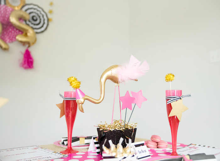 Flamingo centerpiece from a Girly Glam New Year's Eve Flamingle on Kara's Party Ideas | KarasPartyIdeas.com (15)
