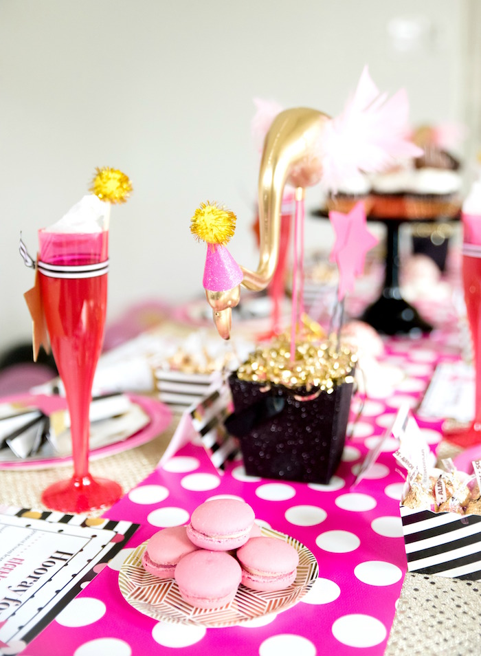 Pink polka dot runner and macarons from a Girly Glam New Year's Eve Flamingle on Kara's Party Ideas | KarasPartyIdeas.com (13)