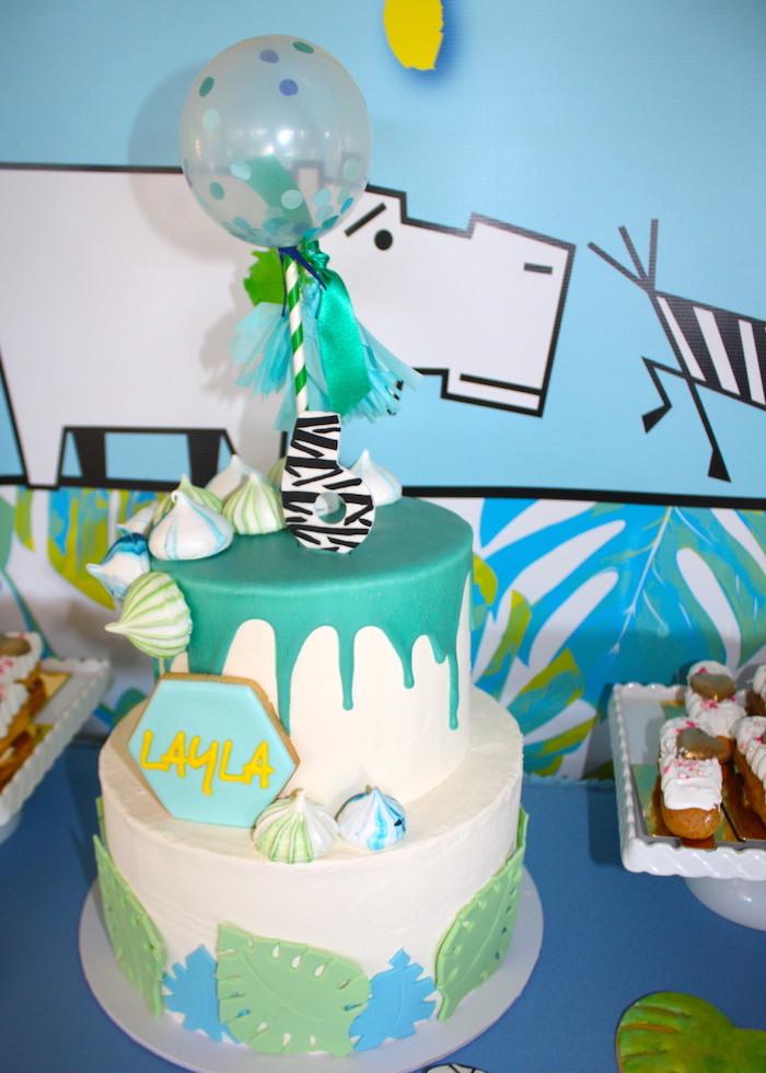 Safari cake from a Girly Wild Safari Birthday Party on Kara's Party Ideas | KarasPartyIdeas.com (20)