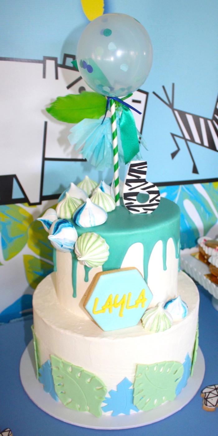 Safari cake from a Girly Wild Safari Birthday Party on Kara's Party Ideas | KarasPartyIdeas.com (19)