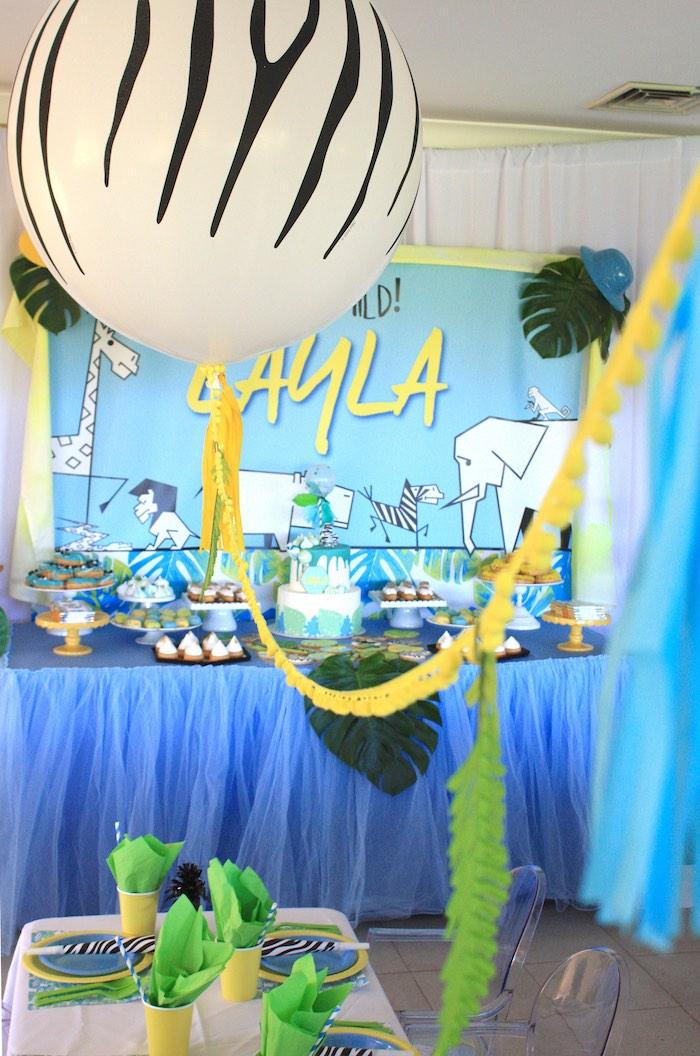 Balloon bunting from a Girly Wild Safari Birthday Party on Kara's Party Ideas | KarasPartyIdeas.com (6)