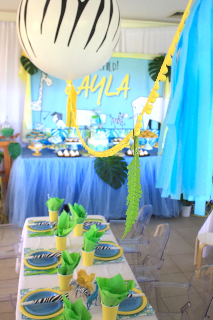 Party tables from a Girly Wild Safari Birthday Party on Kara's Party Ideas | KarasPartyIdeas.com (5)