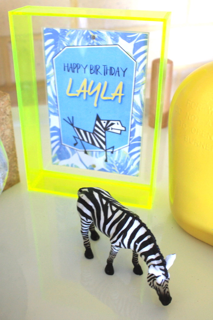 Zebra party signage from a Girly Wild Safari Birthday Party on Kara's Party Ideas | KarasPartyIdeas.com (3)