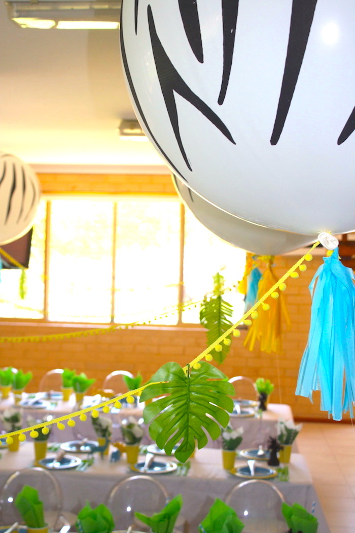 Balloon bunting from a Girly Wild Safari Birthday Party on Kara's Party Ideas | KarasPartyIdeas.com (24)