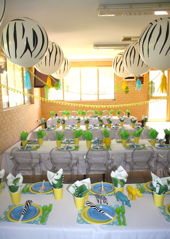 Guest tables from a Girly Wild Safari Birthday Party on Kara's Party Ideas | KarasPartyIdeas.com (23)