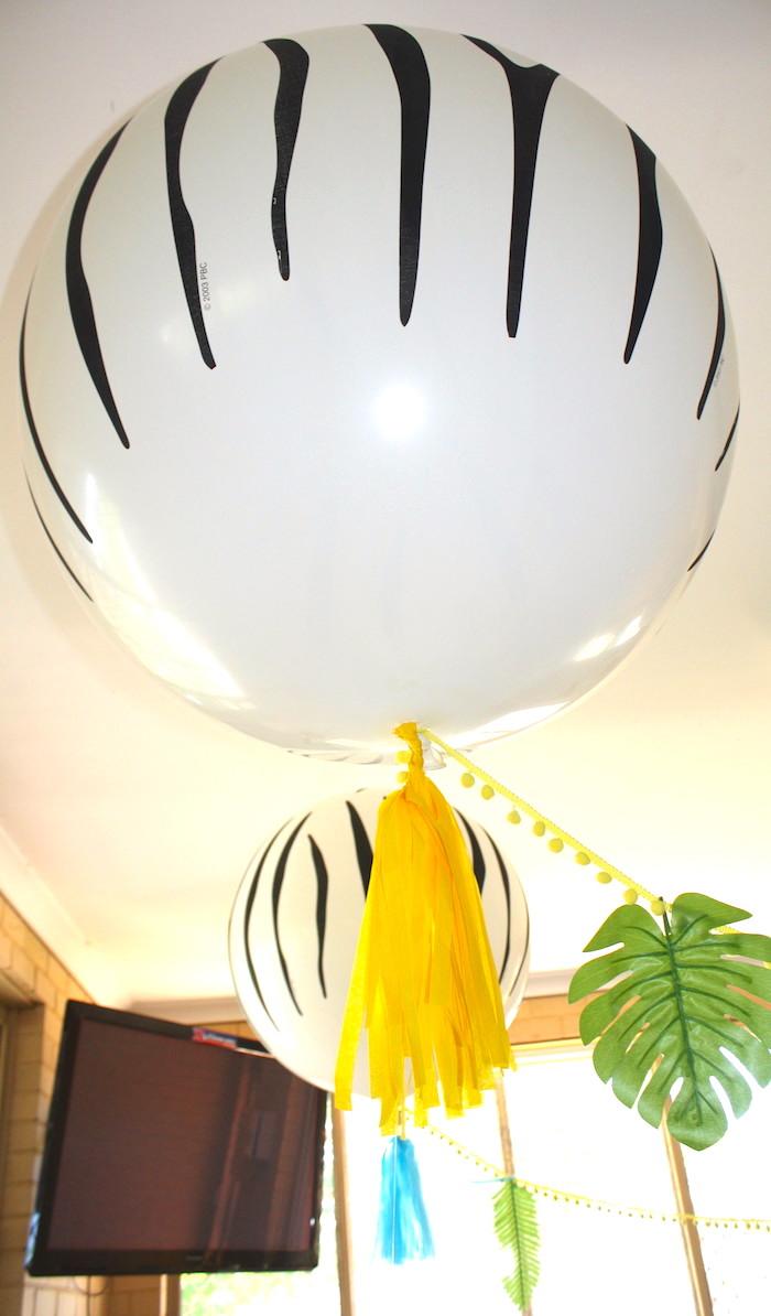 Zebra balloon from a Girly Wild Safari Birthday Party on Kara's Party Ideas | KarasPartyIdeas.com (21)