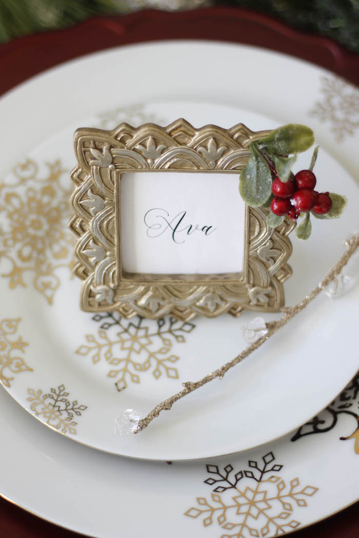 Antique gold frame Holiday place card from a Holly & Ivy Holiday Dinner Party on Kara's Party Ideas | KarasPartyIdeas.com (14)