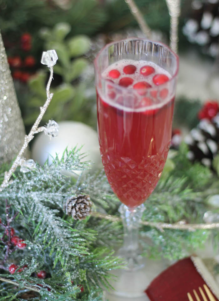 Crystal flute filled with juice and cranberries from a Holly & Ivy Holiday Dinner Party on Kara's Party Ideas   KarasPartyIdeas.com (13)