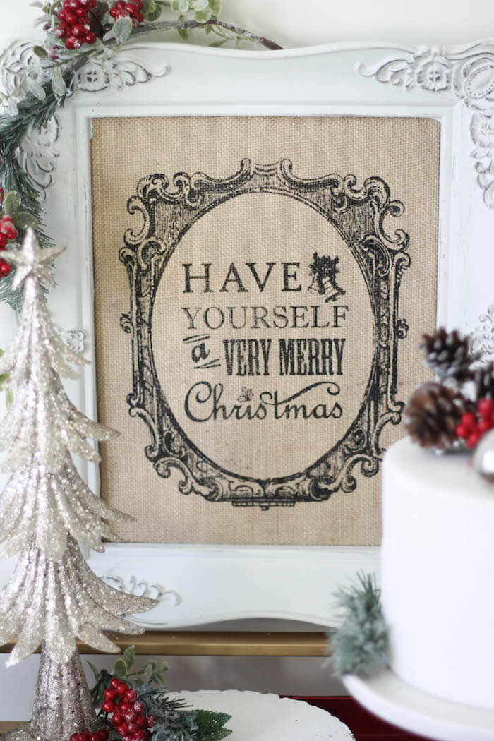 "Burlap ""Have Yourself a Very Merry Christmas"" sign from a Holly & Ivy Holiday Dinner Party on Kara's Party Ideas 