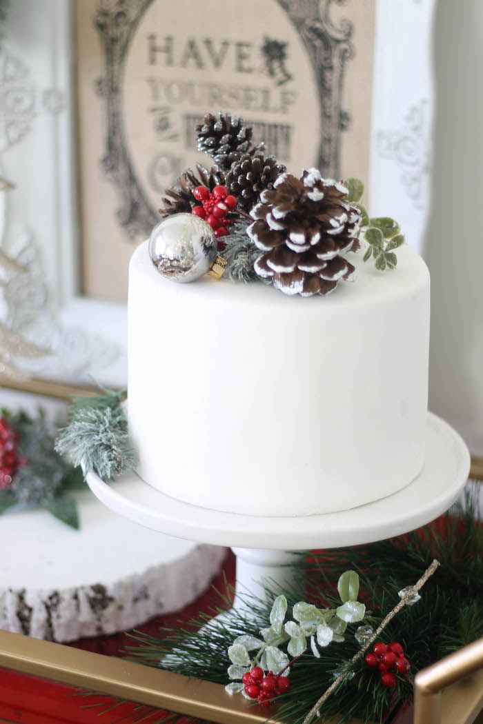 Pine cone and evergreen cake from a Holly & Ivy Holiday Dinner Party on Kara's Party Ideas | KarasPartyIdeas.com (9)