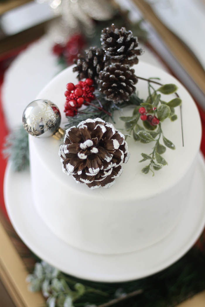 Holiday pine cone and evergreen cake from a Holly & Ivy Holiday Dinner Party on Kara's Party Ideas | KarasPartyIdeas.com (8)