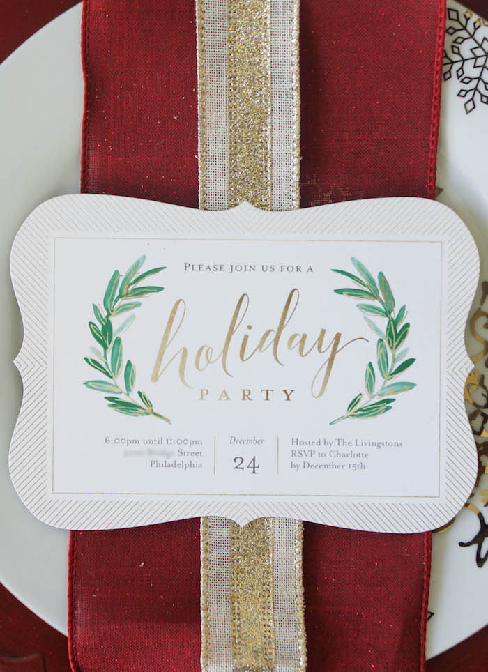 Holiday party invitation from a Holly & Ivy Holiday Dinner Party on Kara's Party Ideas | KarasPartyIdeas.com (6)