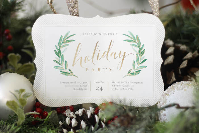 Holiday party invitation from a Holly & Ivy Holiday Dinner Party on Kara's Party Ideas | KarasPartyIdeas.com (5)