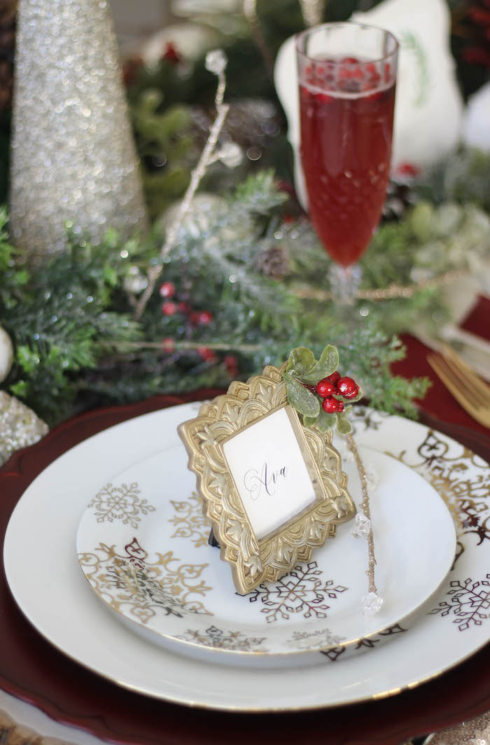 Snowflake embossed dinner and dessert plates from a Holly & Ivy Holiday Dinner Party on Kara's Party Ideas   KarasPartyIdeas.com (21)