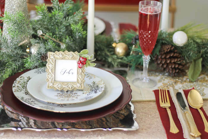 Holiday + Christmas place setting from a Holly & Ivy Holiday Dinner Party on Kara's Party Ideas | KarasPartyIdeas.com (19)