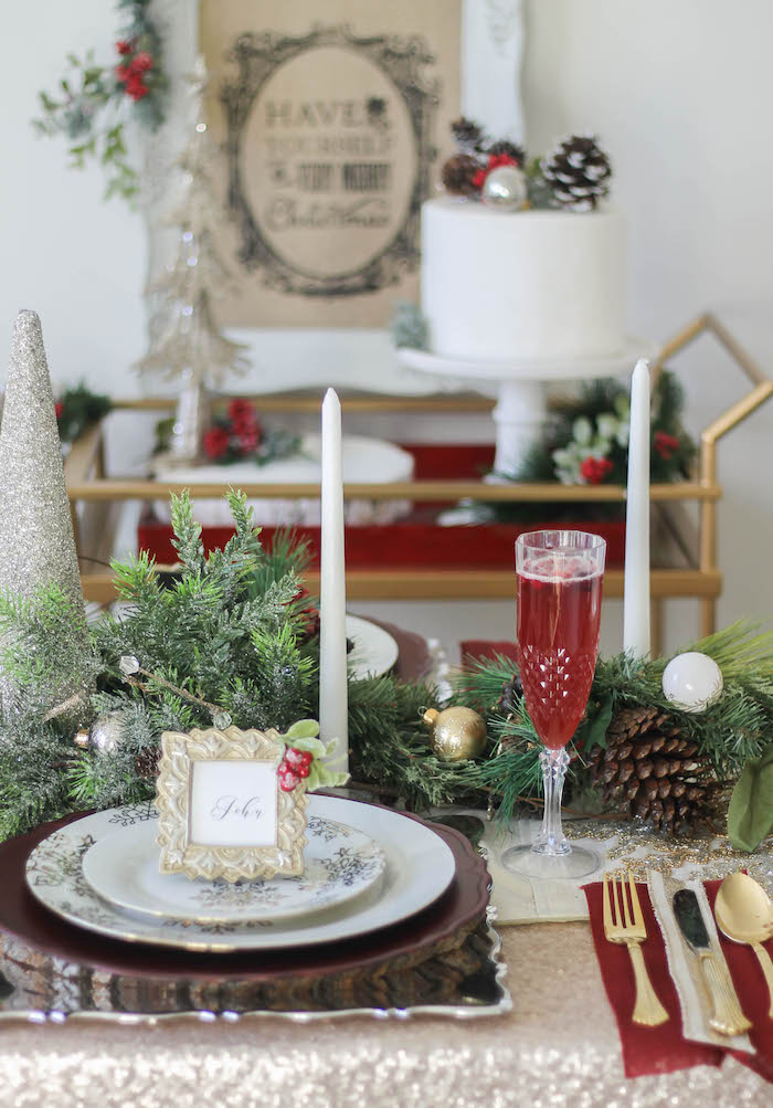 Holiday + Christmas place setting from a Holly & Ivy Holiday Dinner Party on Kara's Party Ideas | KarasPartyIdeas.com (18)