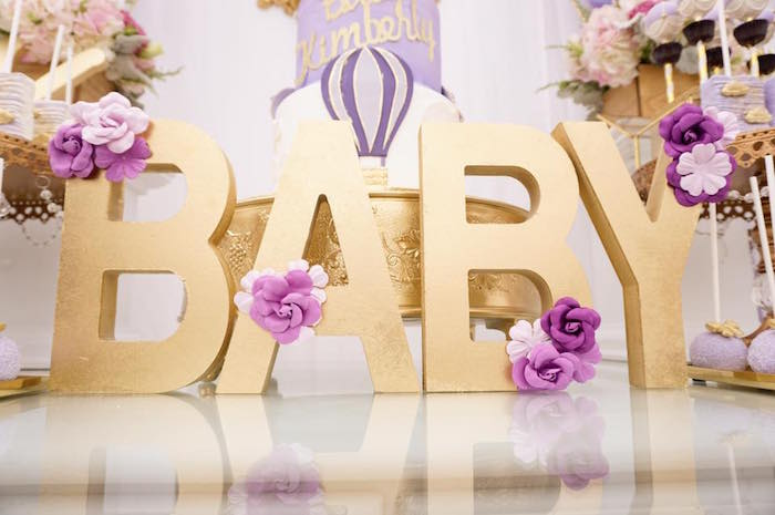 "Gold ""Baby"" block letters from a Hot Air Balloon Baby Shower on Kara's Party Ideas 