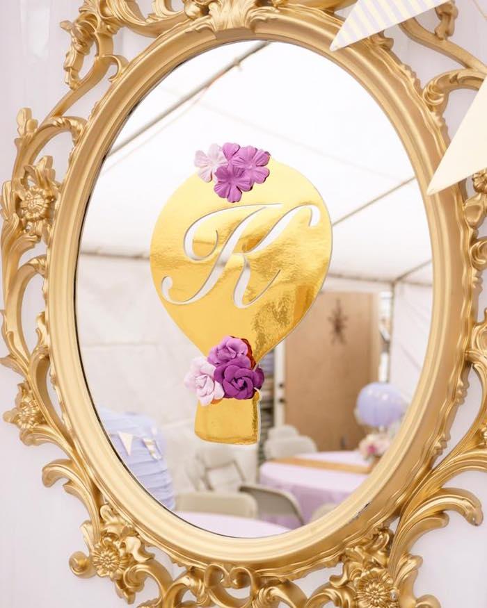 Hot air balloon mirror decal from a Hot Air Balloon Baby Shower on Kara's Party Ideas | KarasPartyIdeas.com (10)