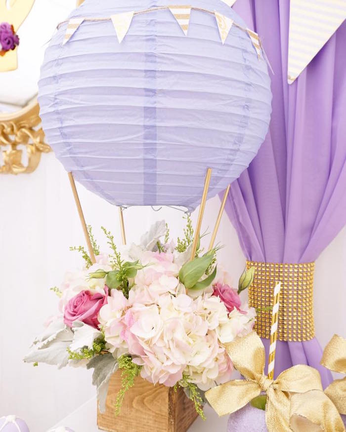 Awesome Hot Air Balloon Floral Arrangement From A Hot Air Balloon Baby Shower On  Karau0027s Party Ideas