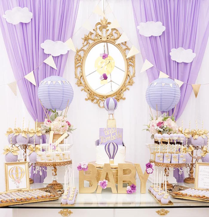 Karas Party Ideas Purple Gold Hot Air Balloon Baby Shower